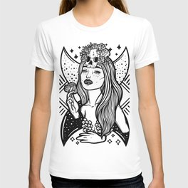 Lady Death. Pretty woman with flower and skull T-shirt