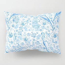 Mermaid Toile - Blue Pillow Sham