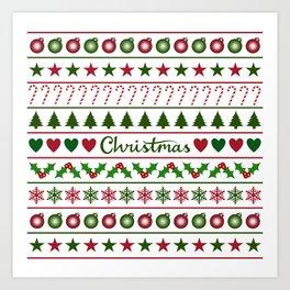 Love Christmas Motifs Pattern Green White Art Print