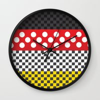 minnie mouse Wall Clocks featuring Minnie by AmadeuxArt