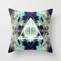 deathly hallows Throw Pillows featuring Deathly Hallows by Christine DeLong Creative Studio