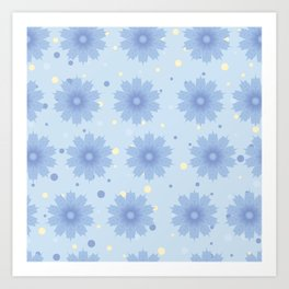 Blue shades blend flowers with polka dot background Art Print