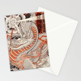 Japanese tattoo Typhoon dragon Stationery Cards