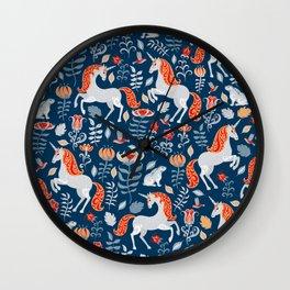 Unicorns, rabbits, birds, flowers. Decorative seamless pattern. Folk art. Wall Clock