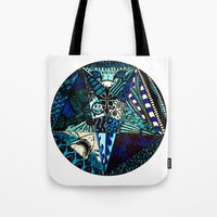 pentagram Tote Bags featuring Blue Toned Pentagram by Nix Hunt