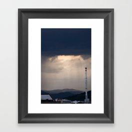 Storm and rain over residential area of Ljubljana. Framed Art Print