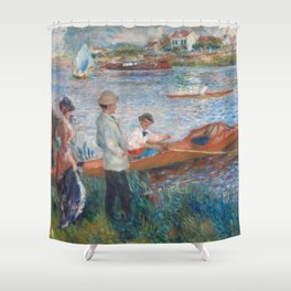 Oarsmen at Chatou Painting by Auguste Renoir Shower Curtain