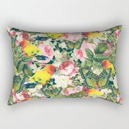 Parrots in rose garden Rectangular Pillow