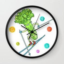 Skiing Celery Wall Clock