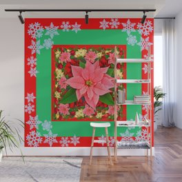 DECORATIVE SNOWFLAKES RED & PINK POINSETTIAS CHRISTMAS ART Wall Mural