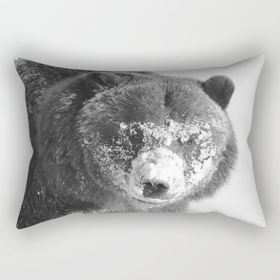 Alaskan Grizzly Bear in Snow, B & W - 3 Rectangular Pillow