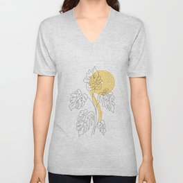 Monstera line Art Unisex V-Neck