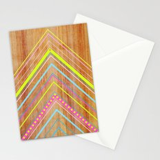 Wooden Chevron Pink Stationery Cards