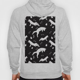 Funny Fox Winter Pattern - White on Black - Mix & Match with Simplicity of life Hoody