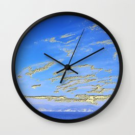 Mediterranean sky with mountains Wall Clock