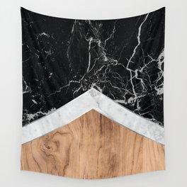 Arrows - Black Granite, White Marble & Wood #366 Wall Tapestry