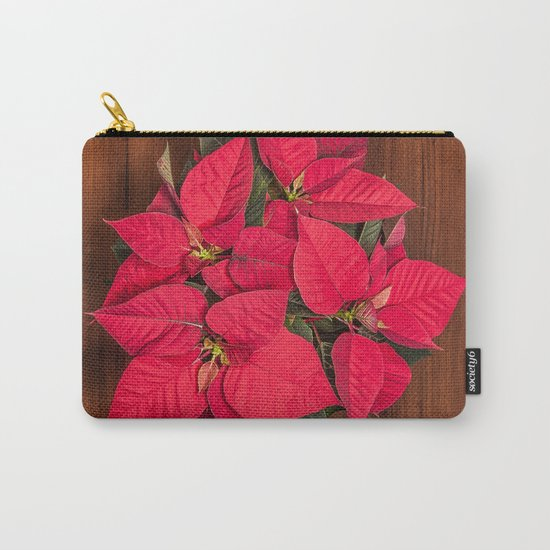 Red Christmas flower on brown wood Carry-All Pouch