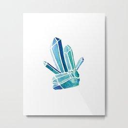 Blue Fluorite Crystal Metal Print