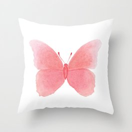 Watermelon pink butterfly Throw Pillow