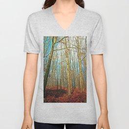Trees in autumn light Unisex V-Neck