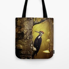Pileated Woodpecker Forest Sunrise Tote Bag
