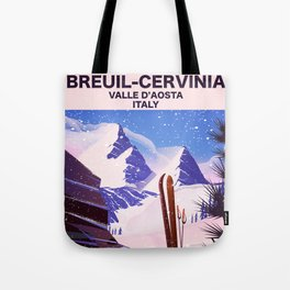 Breuil-Cervinia Valle d'Aosta Italy Ski poster. Tote Bag