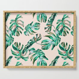 Tropical Palm Leaves Coral Greenery Serving Tray