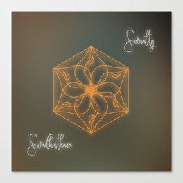 Sacral chakra healing mandala, glowing energy Canvas Print