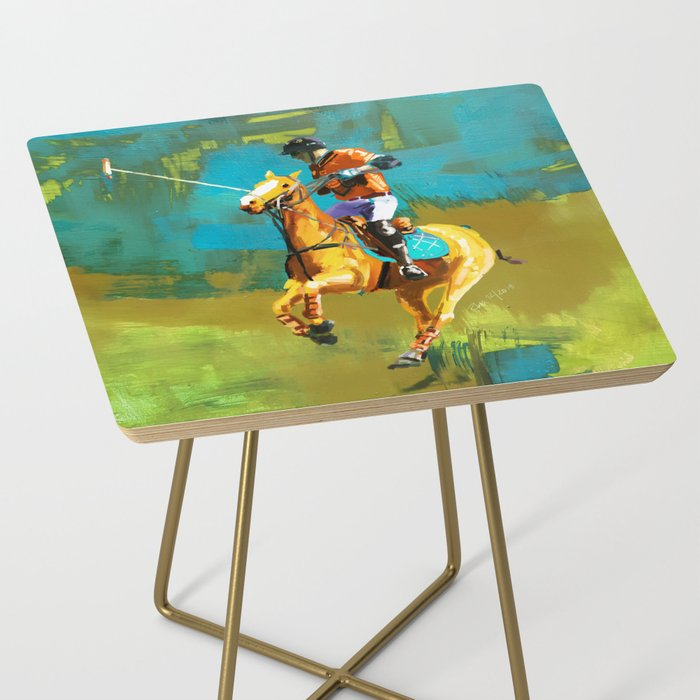 poloplayer abstract turquoise ochre Side Table