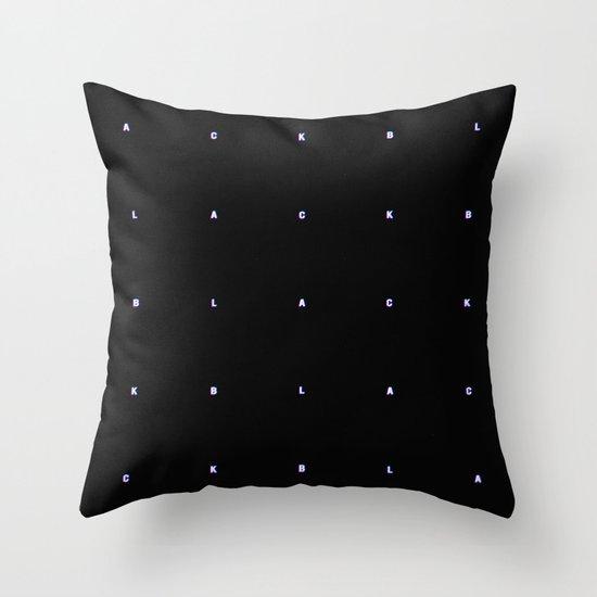 BLACK + neon pixels/ minimal Throw Pillow