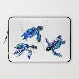 Three Sea Turtles, Marine Blue Aquatic design Laptop Sleeve