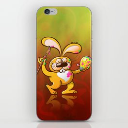 Easter Bunny Painting an Egg iPhone Skin