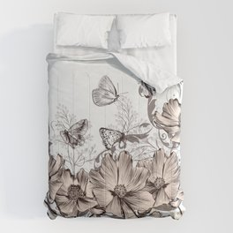 Butterfly Flowers And Butterflies Stencil Comforters