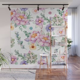 Pastel pink lavender green watercolor hand painted floral Wall Mural