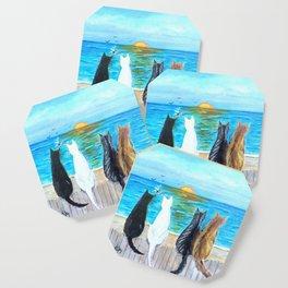 Cat Beach Sunset Coaster