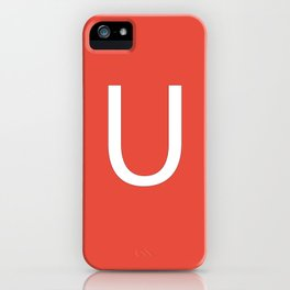 Letter U Initial Monogram - White on Alizarin iPhone Case