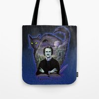 edgar allen poe Tote Bags featuring Edgar Allan Poe Gothic by Scott Jackson Monsterman Graphic