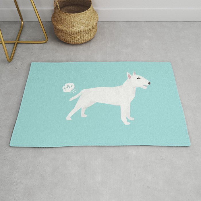 Bull Terrier White Dog Breed Funny Rug By Petfriendly