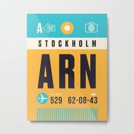 Baggage Tag A - ARN Stockholm Arlanda Sweden Metal Print