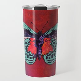 Watercolor Butterfly #1 - Crimson Red, Aqua Blue, Purple Travel Mug