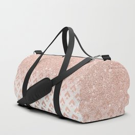 Faux rose gold glitter ombre rose gold foil triangles chevron geometric on white marble Duffle Bag