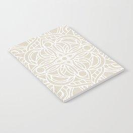White Lace Mandala on Antique Ivory Linen Background Notebook