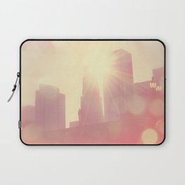downtown Los Angeles skyline photograph. City of Lights Laptop Sleeve