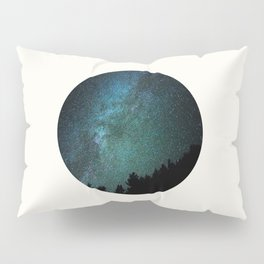 Mid Century Modern Round Circle Photo Milky Way Galaxy Blue Green Star Night Sky Pillow Sham