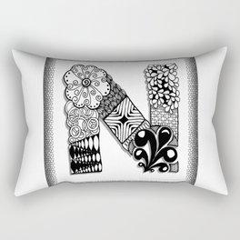 Zentangle N Monogram Alphabet Initials Rectangular Pillow
