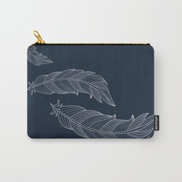 Color Me Feathers - Light Grey Carry-All Pouch