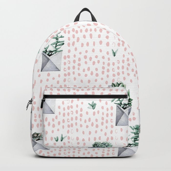 Potted Succulents Pink Polka Dots Backpack
