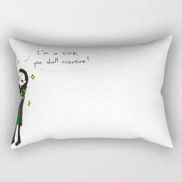 "Loki - ""I'm a God, you dull creature!"" (the Avengers) Rectangular Pillow"