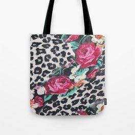 Vintage black white pink floral cheetah animal print Tote Bag
