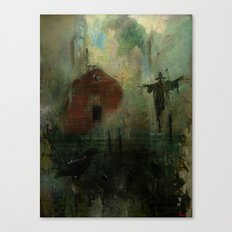 The crow and the Scarecrow Canvas Print